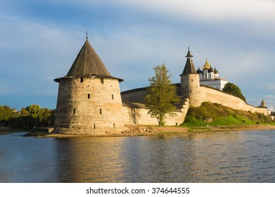 Pskov Kremlin at the confluence of two rivers, the Great and Pskov at sunset in Russia