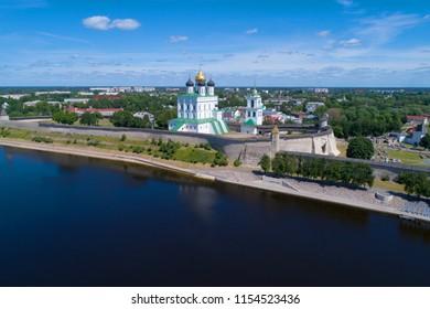 PSKOV, RUSSIA - JUNE 10, 2018: View of the Pskov Kremlin on a sunny June day (aerial survey)