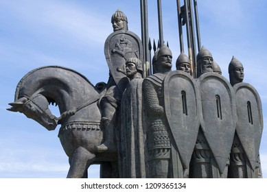 "PSKOV, RUSSIA - JUNE 11, 2018: Alexander Nevsky with a squad. Fragment of the memorial ""Ice Slaughter"" on Mount Sokolikha"