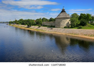 Pskov, Russia, June 22, 2016. Traveling in Russia, a beautiful summer view of the city of Pskov, the river and the old tower