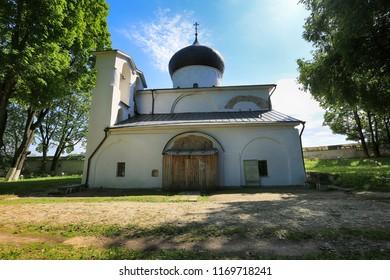 Pskov, Russia, June 22, 2016. Mirozhsky monastery, the Savior-Transfiguration Cathedral in the summer. Travel around Russia, Pskov
