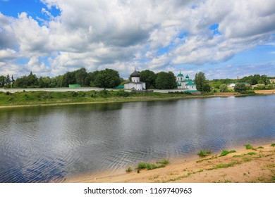 Pskov, Russia, June 22, 2016. Traveling through Russia, a beautiful summer view of the Great river and Transfigurtion Mirozhskiy Monastery