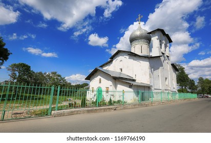 Pskov, Russia, June 22, 2016. Traveling through Russia, a beautiful summer view of the ancient church, the blue sky and clouds
