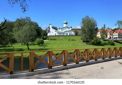 Pskov, Russia, June 22, 2016. Traveling through Russia, a beautiful summer view of the ancient church, the city and green grass