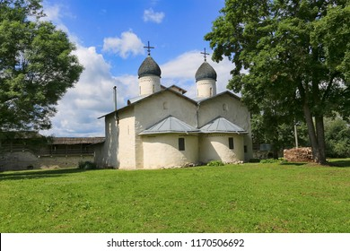 Pskov, Russia, June 22, 2016. Traveling in Russia, a beautiful summer view of the ancient church