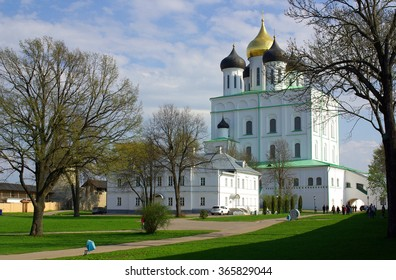 PSKOV, RUSSIA - May 06, 2012: Trinity Cathedral in spring day