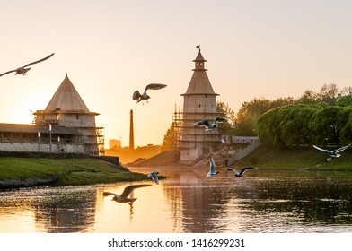 Pskov, Russia - May 16 2019: Scenic views of the river Pskov and Kutekroma at sunset