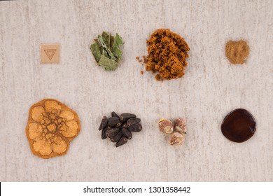 Psychedelic compounds. LSD blotter, iboga root bark, syrian rue, ayahuasca, banisteriopsis caapi, hawaiian baby woodrose, salvia divinorum and morning glory seeds. Alternative medicine.