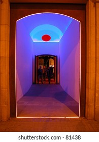 Psychedelic entry of a multicultural center in Barcelona, Spain.
