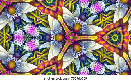Psychedelic pattern. Bright neon forms. Ultraviolet illustration. glowing pattern. Indian, Korean, Arabic, crochet ornament. underwater world with deep-sea inhabitants. Bioluminescence. Fireflies