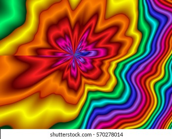 Psychedelic retro background in bright rainbow colors.