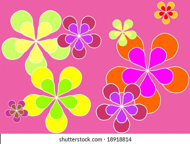 Psychedelic sixties flower power background wallpaper