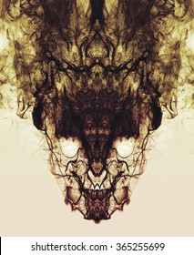 Psychedelic smoke reflections form a creepy symmetrical skull face. A dark, burning, smokey, freaky demon.