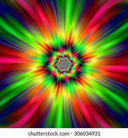 Psychedelic Star Burst / An abstract fractal image with a colorful star burst design in red, pink, yellow, green and blue.