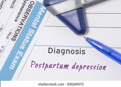 Psychiatric diagnosis Postpartum Depression. On psychiatrist workplace is medical certificate which indicated diagnosis of Postpartum Depression surrounded of questionnaire mental exam and hammer