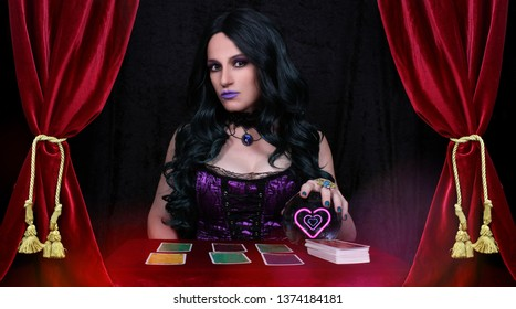Psychic with  Crystal Ball. and tarot cards