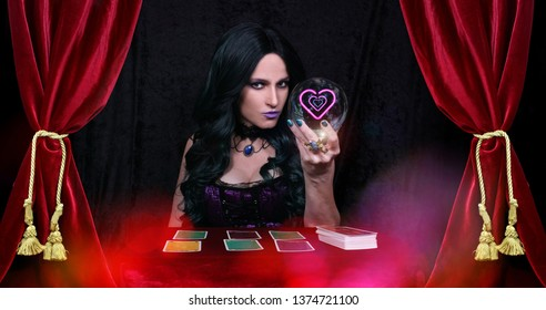 Psychic with  Crystal Ball and tarot cards