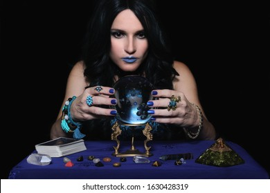 Psychic with crystal ball and tarot cards, Shallow DOF Focus on Crystal Ball