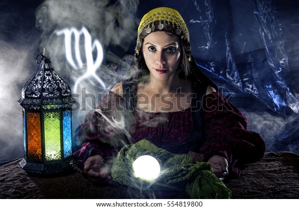 Psychic Fortune Teller Crystal Ball Horoscope Stock Photo (Edit Now