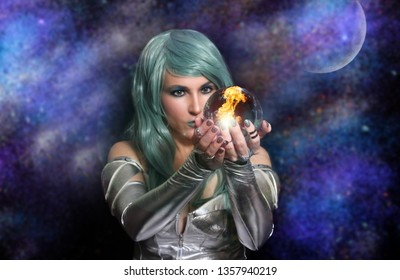 Psychic with green hair and Crystal Ball with Galaxy Background