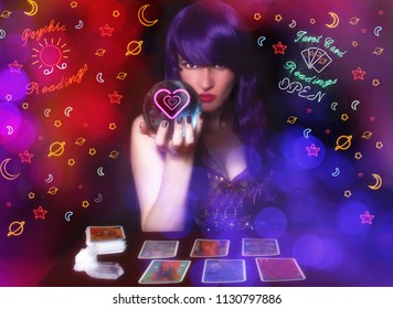Psychic Tarot Card Reader with Purple hair and Crystal Ball. Neon Lights in background with Bokeh Effect