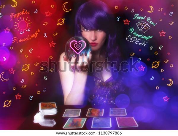 Psychic Tarot Card Reader Purple Hair Stock Photo (Edit Now) 1130797886