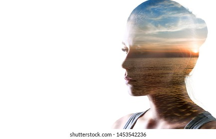 Psychoanalysis and meditation, concept. Profile of a young woman and sunset over the ocean, calm and mental health. Image with double exposure effect. The subconscious and how the brain works