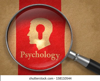 Psychology Concept: Magnifying Glass with Word Psychology and Icon of Head with a Keyhole on Old Paper with Red Vertical Line Background.
