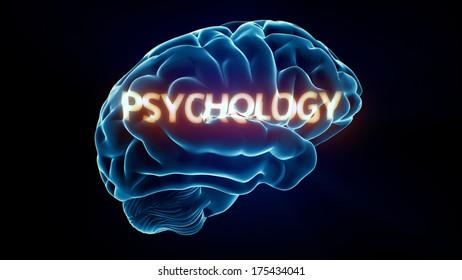 Psychology Xray Brain isolated on black background
