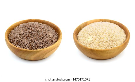 Psyllium (Ispaghula) Seed and Husk Isolated on White Background. Dietary Fiber Food Supplement.