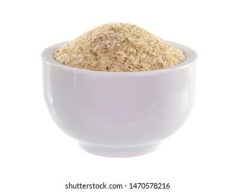 Psyllium (Ispaghula) Seed Husk Isolated on White Background. Dietary Fiber Food Supplement.