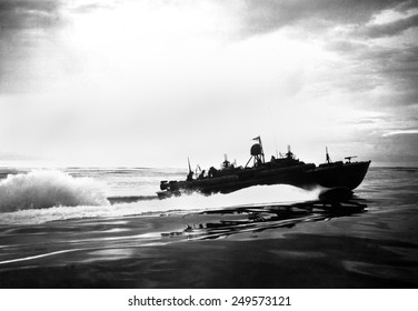 PT boat off coast of New Guinea during World War 2. 'Patrol Torpedo' boats were fast small craft that attacked larger ships. 1943.