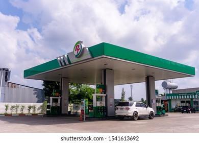 Pt oil pump is popular in Thailand, Nonthaburi - Bang Bua Thong 28 October 2019