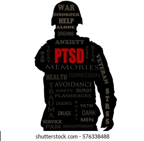PTSD word cloud over a Soldiers sihlouette