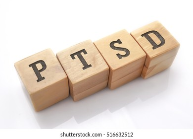 PTSD word made with building blocks isolated on white