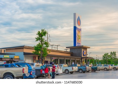 PTT Gas station, Thailand 10 June 2018 : PTT is one of gas station in Thailand that lots of people use the service. Except gasoline there is drinking cafe, Convenience Store, toilets to service