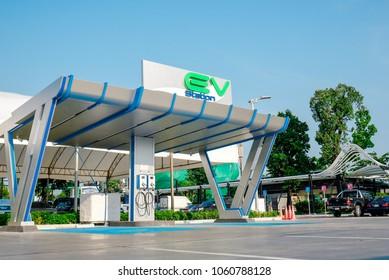 Ptt have Electric vehicle charging station (EV) sevice in Petrol Station. Bangkok 4/4/2018