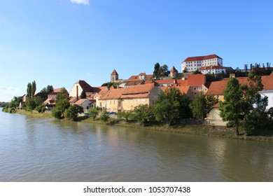 Ptuj and Ptuj Castle beside the River Drava, Stajerska. View from the bridge. . Slovenia. August 2016