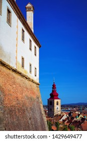 Ptuj Castle city walls and old town in Slovenia. Architecture in Slovenija. Travel