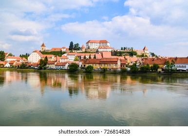 Ptuj, the oldest city in Slovenia. River Drava and old city Ptuj, panoramic view.