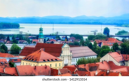 PTUJ, SLOVENIA, April 30 2017: Aerial view over city with river Drive in background in Ptuj, Slovenia.