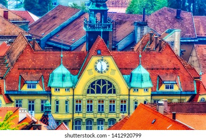 PTUJ, SLOVENIA, April 30 2017: Aerial view over town hall surrounded by red roofs of old urban houses in Ptuj, Slovenia.