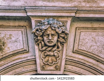 PTUJ, SLOVENIA, April 30 2019: Bas relief head sculpture on facade at urban building in old town of Ptuj, Slovenia.