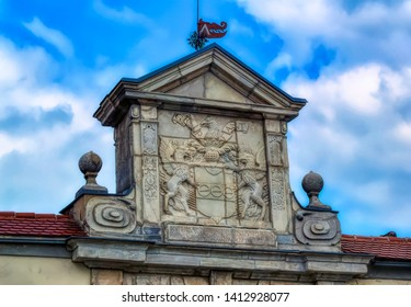 PTUJ, SLOVENIA, April 30 2019: Old monumental coat of arms in Ptuj, Slovenia.