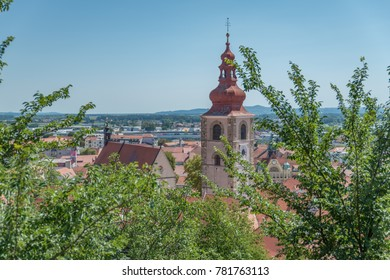 Ptuj / Slovenia - August 17, 2017: View on St. George's Church from the castle in Ptuj
