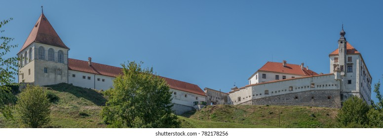 Ptuj / Slovenia - August 17, 2017: Castle in Ptuj next to the Drava river