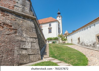 Ptuj / Slovenia - August 17, 2017: Street of the castle in Ptuj next to the Drava river