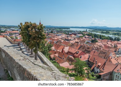 Ptuj / Slovenia - August 17, 2017: View of the old town, the river Drawa and the lake from the castle in Ptuj in the summer of 2017