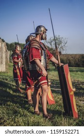 Ptuj, Slovenia - Avgust 16 2018: Roman games,  legionary soldiers standing in line