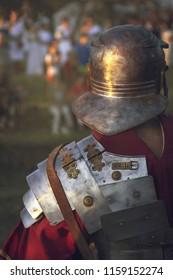 Ptuj, Slovenia - Avgust 16 2018: Roman games,  Legionry soldier standing before crowd
